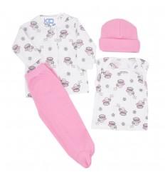 Conjunto para bebé prematura - Rosa Elefantes