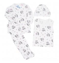 Conjunto para bebé prematura - Blanco perritos