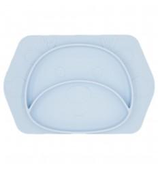 Plato en silicona para bebé con diseño de Reno Azul