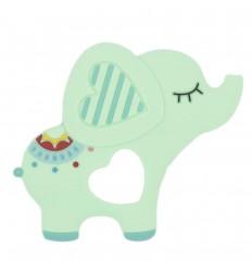 Llamadientes en silicona - Elefante verde