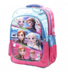Maleta media para niña 3D Frozen- Azul rosa