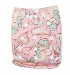 Pañal ecológico para bebé- Rosa unicornios