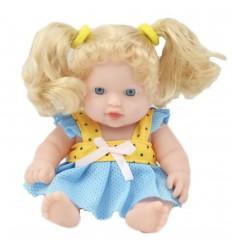 Muñeca bebé con cabello largo - Amarillo con azul