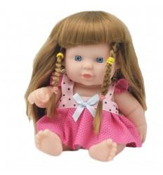 Muñeca bebé con cabello largo trenzas- Rosa