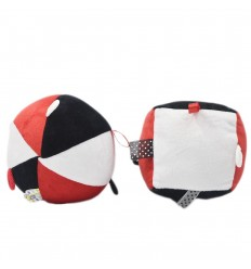 Cubo y pelota para estimulación - Rojo con negro