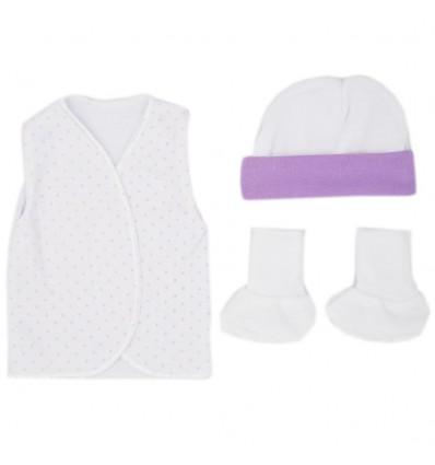 Set de ropa UCI para bebé prematura - Puntos lila