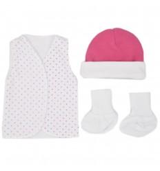 Set de ropa UCI para bebé prematura-puntos fucsia
