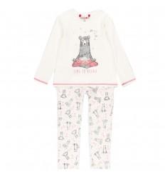 Pijama dos piezas para niña -Blanco osita