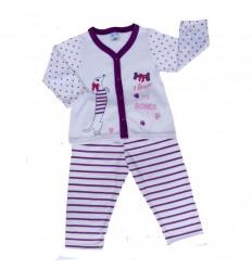 Pijama para bebé de mascota con puntos y rayas