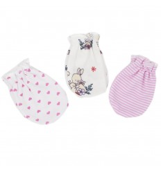 Set de 3 mitones para bebé recien nacida