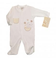 Pijama Enteriza para bebé - osito blanco hueso