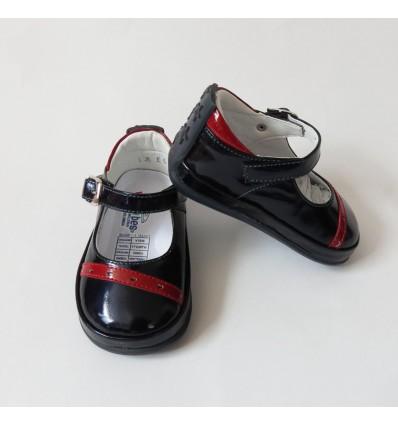 Zapato combinado azul- rojo. No tuerce.