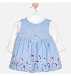 Vestido para niña - azul bordado