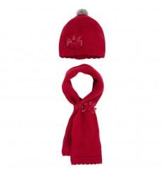 Gorro y bufanda para bebé - Rojo