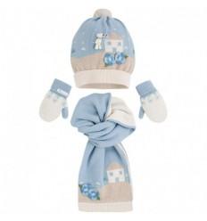 Bufanda gorro y manoplas para bebé - Azul claro