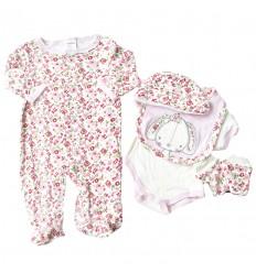 Primera muda de bebé - 5 piezas animal con moño rosa