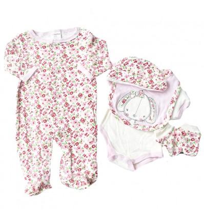 Conjunto para bebé niña - 5 piezas animal con moño rosa