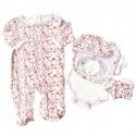 Conjunto para bebé niña- 5 piezas animal con moño rosa