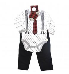 conjunto para bebe niño - tirantas negro