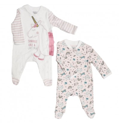 pijama para bebe - set por dos unicornio