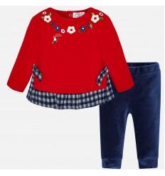 conjunto para bebe niña - florecitas rojo