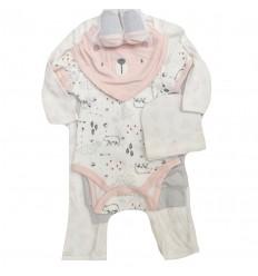 conjunto para bebe niña -color rosa y gris