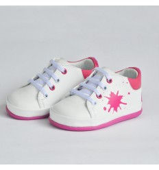Tennis no tuerce blanco splash fucsia