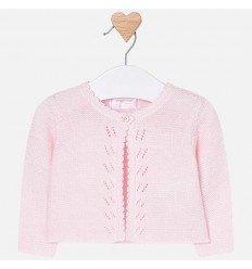 Saco tejido de punto para bebe rosa