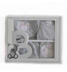 Primera muda para bebe gris conejo