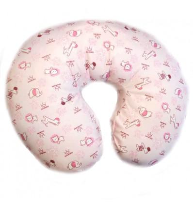 Almohada de lactancia rosa con animales