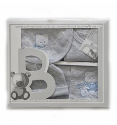 Primera muda para bebe gris azul oso