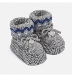 Zapato tegido para bebe color gris acero