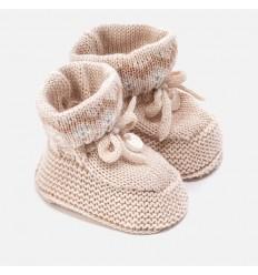 Zapato para bebe en hilo color creme