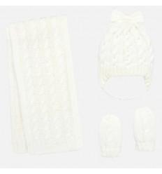 conjunto gorro bufanda y mitones para bebe