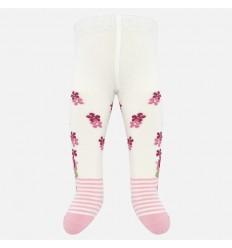Media pantalon con flores para niña