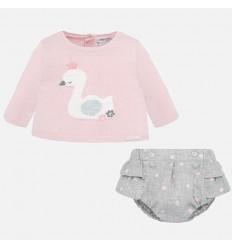 conjunto 2 piezas para bebe niña shorts y saco en hilo