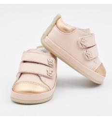 Zapato para niña rosa con dorado