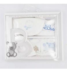 Primera muda bebé- blanco con bordeado azul