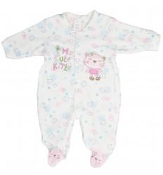 Pijama enteriza bebé niña Blanca con rosada