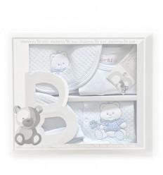 Primera muda para bebe azul oso