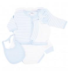 Primera muda bebé azul claro rayas