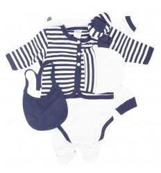 Primera muda bebé azul oscuro rayas