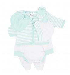 Primera muda bebé verde menta rayas
