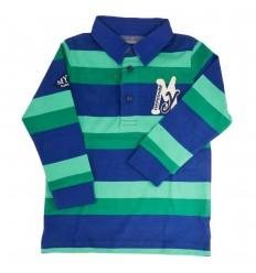 Polo manga larga verde y azul