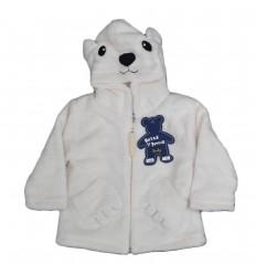 Saco con capota de oso blanco