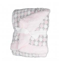 Cobija para bebé niña de circulos rosada