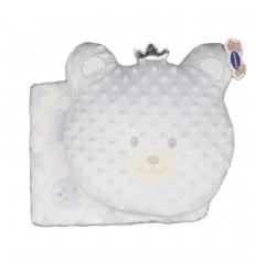 Cobija y almohada para bebe azul