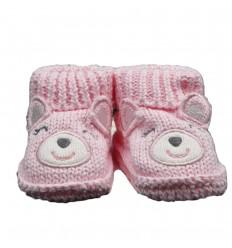 Medias zapato en hilo rosa de oso