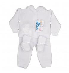 Conjunto en hilo para bebé blanco