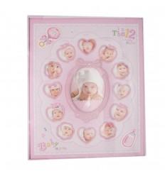 Album baby con portaretratos rosado